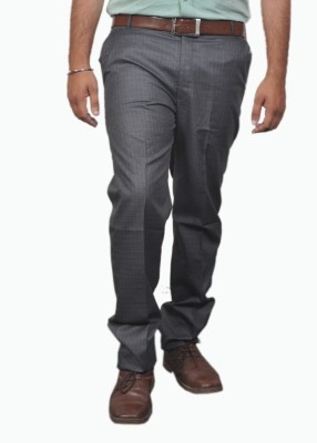 Desi Corporate Slim Fit Men's Grey Trousers