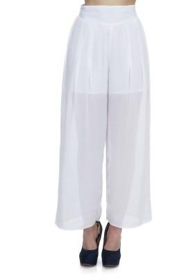 Zaivaa Regular Fit Women's White Trousers