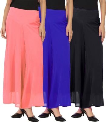 La Verite Regular Fit Women's Black, Blue, Orange Trousers