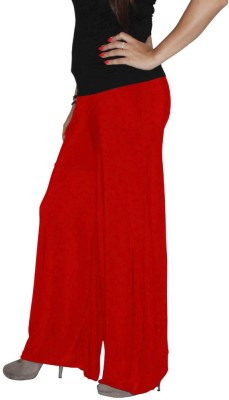 Xarans Regular Fit Womens Red Trousers