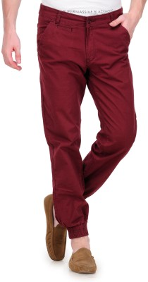 White Kalia Regular Fit Men's Maroon Trousers