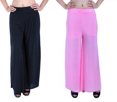 Ajaero Regular Fit Women's Black, Pink Trousers