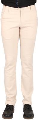 Pecanz Regular Fit Men's Linen Cream Trousers