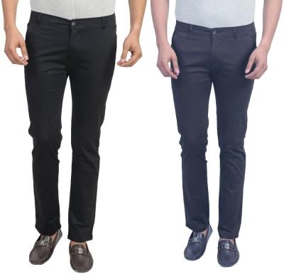 Masterly Weft Slim Fit Men's Black, Dark Blue Trousers