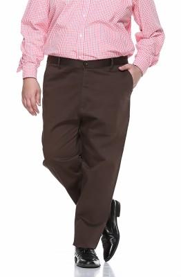 PlusS Regular Fit Men,s Brown Trousers