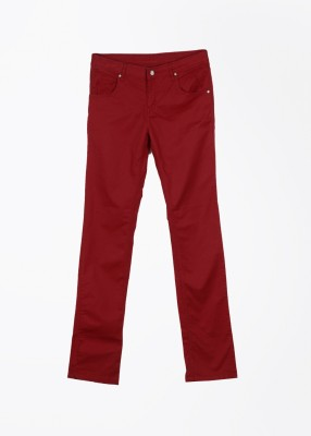 Gini & Jony Slim Fit Girl's Red Trousers