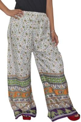 Pezzava Regular Fit Women's White, Green Trousers