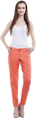 MansiCollections Slim Fit Women's Orange Trousers