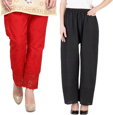 Komal Trading Co Regular Fit Women's Red, Black Trousers