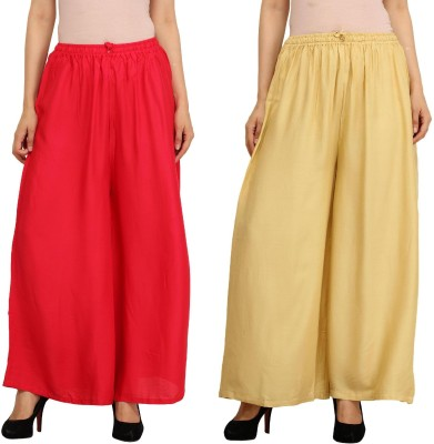 Guru Nanak Fashions Regular Fit Women's Red, Beige Trousers