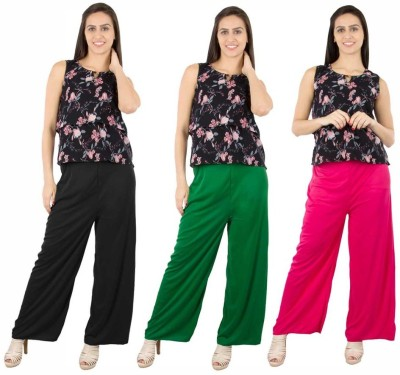 Fashion Flow+ Regular Fit Women's Black, Green, Pink Trousers
