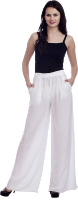 MansiCollections Regular Fit Women's White Trousers