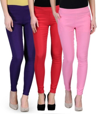 Oleva Slim Fit Women's Multicolor Trousers at flipkart