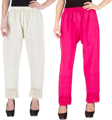 Komal Trading Co Regular Fit Women's White, Pink Trousers