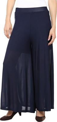 Purple Feather Regular Fit Women's Dark Blue Trousers