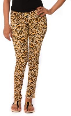 Oviya Skinny Fit Women's Yellow, Black Trousers