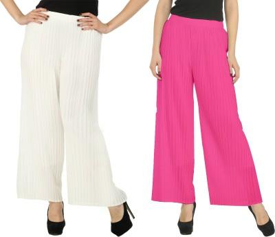 Civilized Showdown Regular Fit Women's White, Pink Trousers