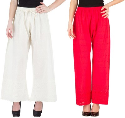 Komal Trading Co Regular Fit Women's White, Red Trousers