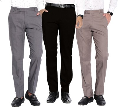 Fizzaro Regular Fit Men's Brown, Grey, Black Trousers