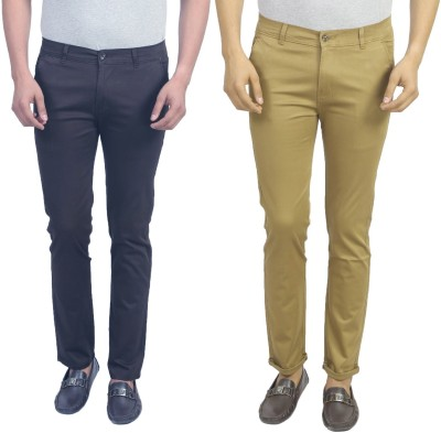 Masterly Weft Slim Fit Men's Dark Blue, Beige Trousers