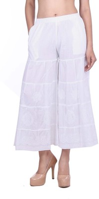 Indian Artizans Regular Fit Women,s White Trousers
