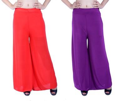 Ajaero Regular Fit Women's Red, Purple Trousers