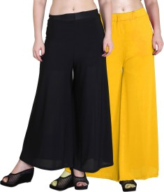 Kannan Regular Fit Women's Black, Yellow Trousers