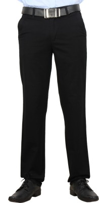 F FASHIONSTYLUS Regular Fit Men's Black Trousers