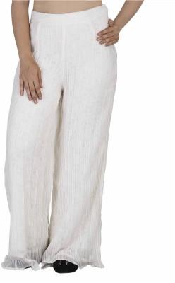 SOIE Regular Fit Women's White Trousers
