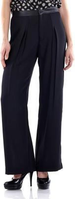 Fuziv Slim Fit Women's Black Trousers