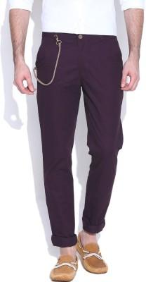 Hubberholme Slim Fit Men's Purple Trousers