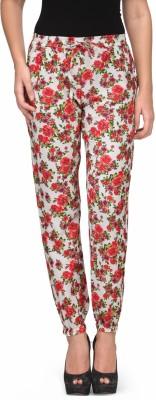 Kiosha Slim Fit Women's White, Red Trousers