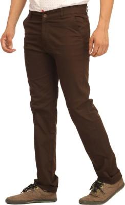 Cotton Berry Slim Fit Men's Brown Trousers