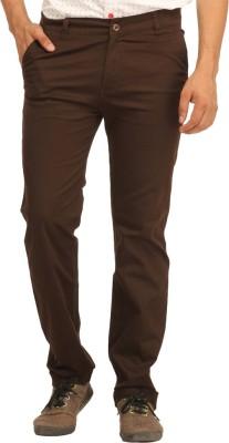 RD Traders Slim Fit Men's Brown Trousers
