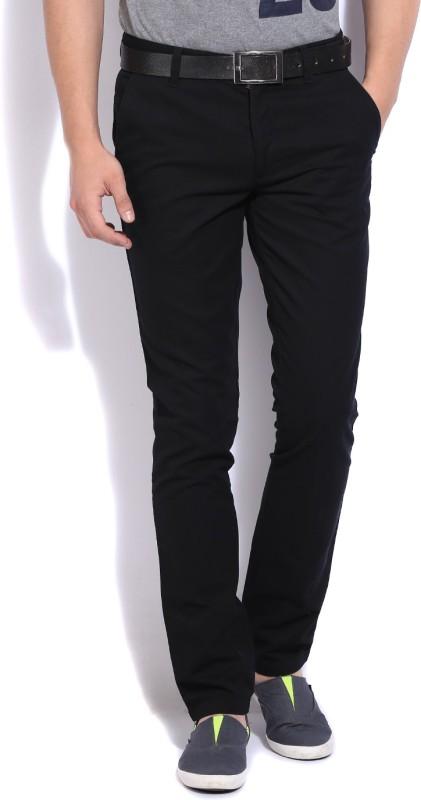 John Players Slim Fit Men's Black Trousers
