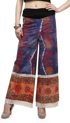 Glam and Luxe Regular Fit Women's Blue Trousers