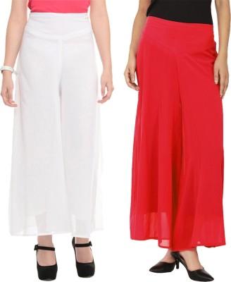 La Verite Regular Fit Women's Red, White Trousers