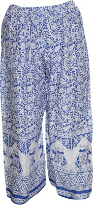 Indiatrendzs Regular Fit Women's White, Blue Trousers