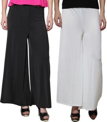 Both11 Regular Fit Women's White, Black Trousers