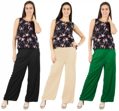 Fashion Flow+ Regular Fit Women's Black, Beige, Green Trousers