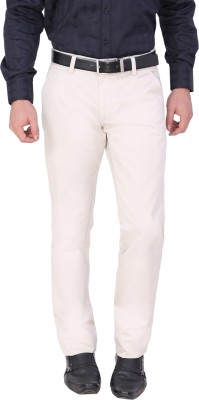 Louppee Regular Fit Men,s Cream Trousers