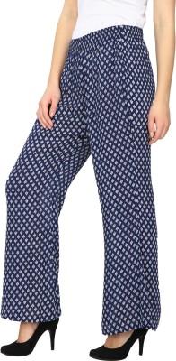 Ethnic Regular Fit Women's Blue Trousers