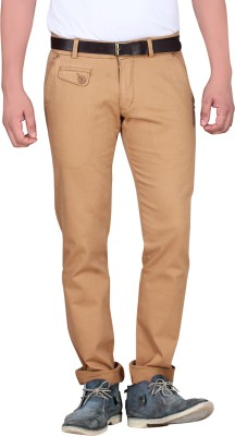 King & I Slim Fit Men's Brown Trousers