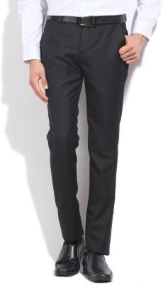 LAWMAN Slim Fit Men's Black Trousers