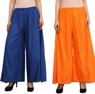 Guru Nanak Fashions Regular Fit Women's Blue, Orange Trousers