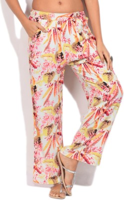 Imara Regular Fit Women's Yellow, Pink Trousers at flipkart