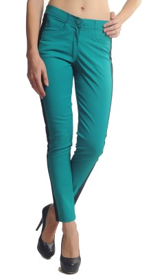 Glam & Luxe Slim Fit Women's Green, Black Trousers