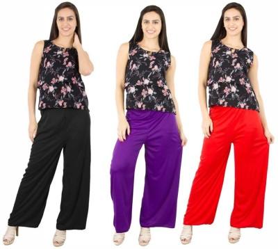 Fashion Flow+ Regular Fit Women's Black, Purple, Red Trousers
