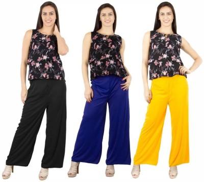 Fashion Flow+ Regular Fit Women's Black, Blue, Yellow Trousers