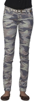 Ixia Slim Fit Women's Light Green Trousers
